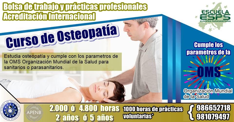 Cursos de osteopatía OMS. Cursos de osteopatia en Pontevedra, Vigo, Coruña, Santiago de Compostela